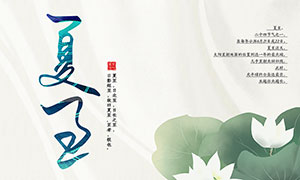 中国风荷花荷叶主题夏至海报PSD素材