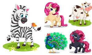 卡通孔雀斑马与奶牛独角兽矢量素材