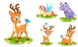 小鹿大象与独角兽卡通创意矢量素材