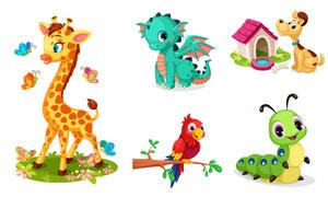 鹦鹉与小狗等卡通可爱动物矢量素材