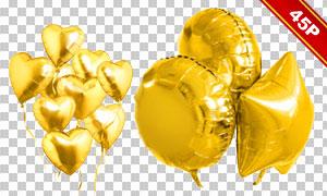 金色充气样式字母数字装饰免抠素材