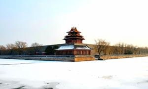 冬季雪后故宫角楼美景摄影图片