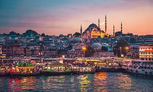 海边城市码头美丽夜景高清摄影提片