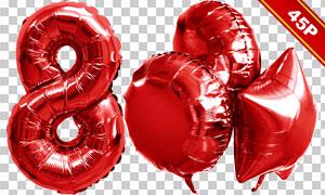 紅色充氣樣式字母數字裝飾免摳素材