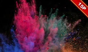 彩色的粒子粉末爆炸效果高清圖片V01