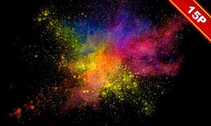 彩色的粒子粉末爆炸效果高清圖片V02