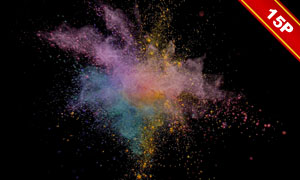 彩色的粒子粉末爆炸效果高清圖片V03
