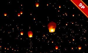 在夜空中放飞的孔明灯合成适用图片