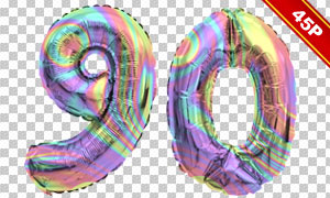 炫丽彩虹色充气字母等创意合成素材