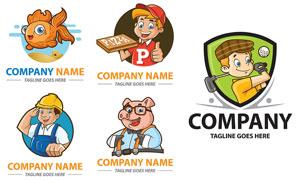 卡通角色创意标志主题设计矢量素材