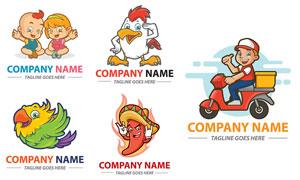 鹦鹉与公鸡等卡通标志设计矢量素材