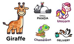大熊猫与独角兽等卡通动物矢量素材