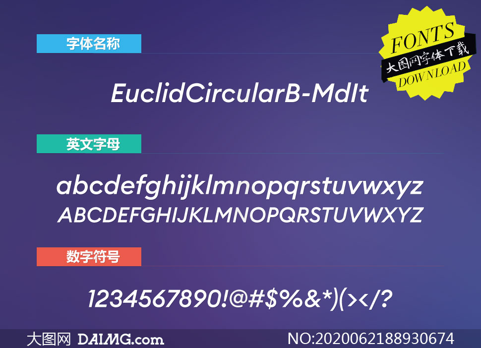 EuclidCircularB-MdIt(英文字体)