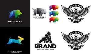 多彩动物图案标志创意设计矢量素材