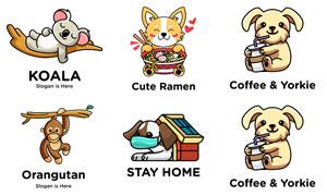 可爱动物图案标志创意设计矢量素材