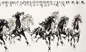 中國風水墨八駿圖掛畫設計PSD素材