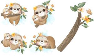 可爱树懒妈妈与小宝宝插画矢量素材