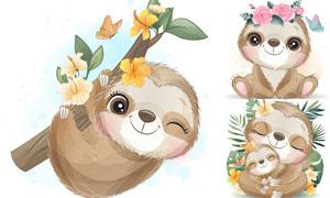 树懒妈妈与小树懒动物插画矢量素材