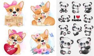 可爱熊猫与宠物狗插画创意矢量素材