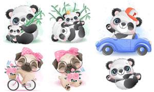 大熊猫与骑车的狗狗等插画矢量素材