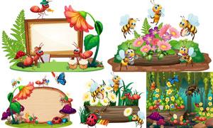 引来蝴蝶与蚂蚁的鲜花主题矢量素材