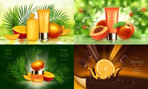 水果与防晒品广告设计创意矢量素材