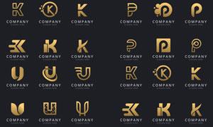 金色英文字母变形创意标志矢量素材
