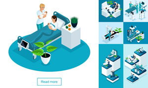 健康检查与医院人物等主题矢量素材