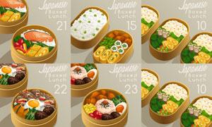 在便当盒里的日式料理主题矢量素材