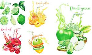 果汁飞溅的水彩风水果创意矢量素材