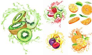 水彩质感猕猴桃等水果主题矢量素材