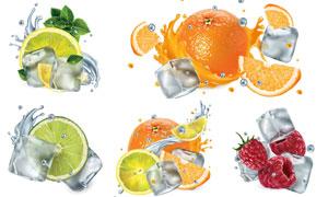 冰块与切开的质感水果主题矢量素材