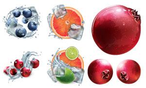 冰块水花与柠檬蓝莓等水果矢量素材