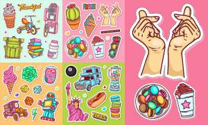 冰淇淋与书包等多彩标签贴画矢量图