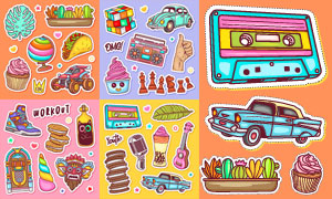 饼干与魔方等多彩贴纸创意矢量素材