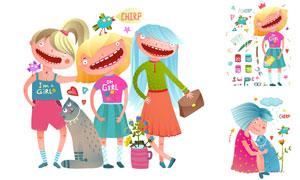 手绘风格宠物猫与女孩插画矢量素材