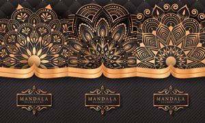斜纹装饰与金色曼陀罗图案矢量素材