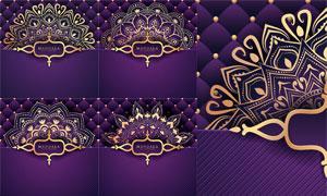 斜纹装饰的曼陀罗轮圆图案矢量素材