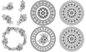 黑白花朵图案边框装饰设计矢量素材