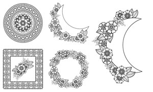 黑白可上色的花朵图案边框矢量素材