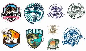 复古风格的钓鱼俱乐部标志矢量素材