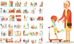 选购家具与家庭人物等创意矢量素材
