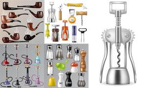 开瓶器与烟斗调理瓶等质感矢量素材