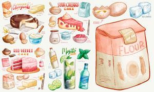 美味蛋糕及其所用食材主题矢量素材