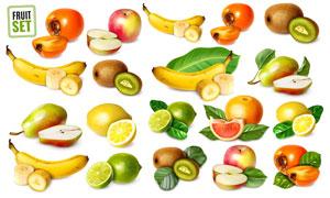 香蕉柠檬与柿子等质感水果矢量素材