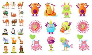 怪兽与骆驼等动物卡通创意矢量素材