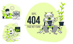 不同网页错误提示插画创意矢量图V04