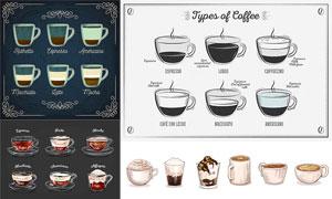 花纹装饰边框与不同款咖啡矢量素材