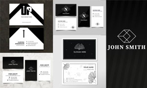 黑白配色简约名片版式设计矢量素材