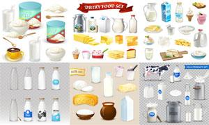 牛奶奶花与奶粉奶酪等主题矢量素材
